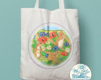 Cute Mice Tote Bag,  illustrated Tote Bag, Shopping Bag, Cotton Tote, Long-handled tote bag