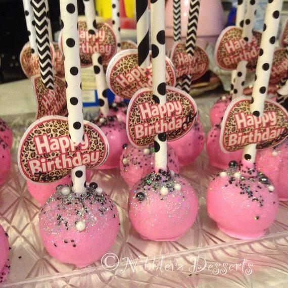 12 Diamonds And Pearls Birthday Pink And Black Designer Cake Pops