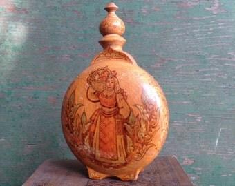 vintage wooden vessel / vintage winne wooden vessel / rustic wooden centeen / folk decor / decorative wooden bottle/ Home Decor