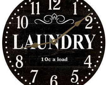 Laundry Room Wall Clock- Black Laundry Room Clock