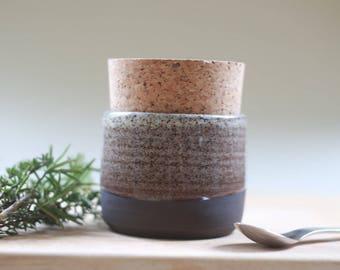 Ceramic storage jar, kitchenware, food storage. Wedding gift.  Modern black ceramic stoneware clay pot with natural cork stopper.