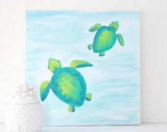 """SALE! Sea Turtle painting, Turtle Painting, Sea Turtle Wall Art, Sea Turtle Decor, Sea Turtle Art, Sea Turtle, 12""""x12"""" Acrylic Painting"""