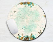 Butterfly Free Spirit Bohemian Style Mouse Pad - Mint and Gold - Bohemian - Boho Hippie - Butterflies - Flowers Computer Mouse Pad - Office