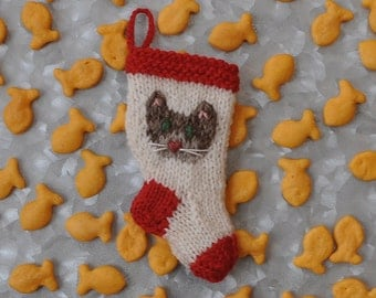 Brown Tabby Cat Christmas Stocking Ornament  Hand Knit Ornament