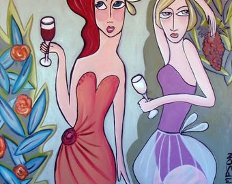 Red and White wine -L E P Print - Art Deco Inspired by artist Samantha Thompson