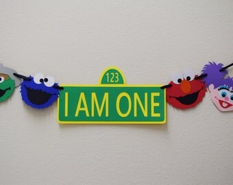 Sesame Street High Chair Birthday Party Banner ; I am One Banner ; Happy Birthday Banner ; Elmo Birthday Party Decorations