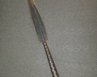 Vintage Hand Made 21 inch African Zula Steel Spear Head, Hand Painted, Antique Tribal Spear