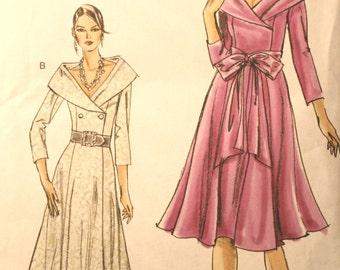 Vogue 8359, Misses Coat Dress, Petite Coat Dress, Shawl Collar Dress, Mother of Bride, Wedding Dress, Size 6, Size 8, Size 10, Size 12 UNCUT