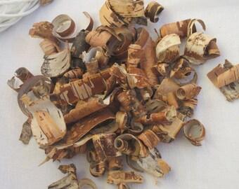 Birch bark pieces drifwoods scrolls curls wedding table decor basket filler potpourri Spring