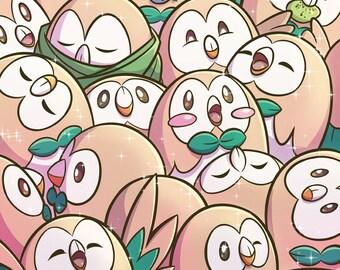"""Rowlet Fields Forever 11x17"""" Print - Alola, Pokemon, Dartrix, Decidueye"""