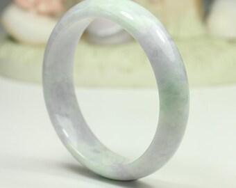 Jadeite Jade Bangle - 59.04mm Light Green and Lavender (Grade A Jade)