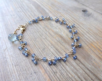 Mystic Blue Quartz Gem Fringed Rosary Link Bracelet in Gold