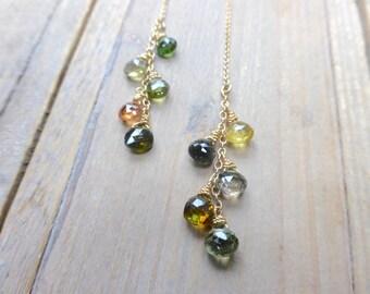 Mixed Green Tourmaline Cluster Threader Earrings