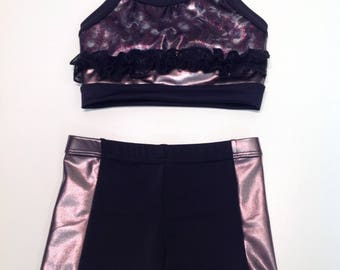 Dark purple and black with front ruffled crop top set with booty short