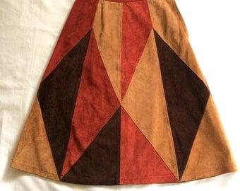 "1970s Gino Paoli Italian Suede Color Block Midi Skirt 28-29""W"