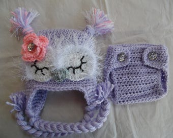 Baby Owl Hat with Option of Diaper Cover ( MADE TO ORDER), Infant Baby Owl Hat, Crochet Baby Hat, Hat with Flower, Baby Gift, Purple Owl Hat