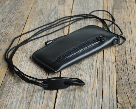 Google Pixel 2 XL Nexus 6P 6 5X 5 Case Black Genuine Leather Mini Messenger Bag Organizer with Zippers and Pockets Purse Includes Neck Strap