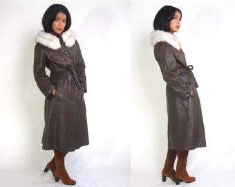 Vintage 70s Brown Leather White Fox Fur Collar Belted Coat Jacket Hippie