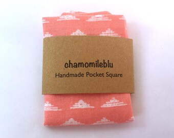 Coral pocket square, mix n match prints // Wedding, groomsmen, ring bearer accessories by chamomileblu