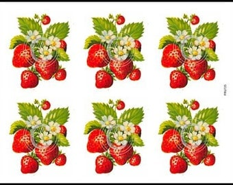 Vintage Retro Bunches of Strawberries Fruit Waterslide Decals~ FRU725