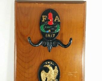 Vintage Fireman's Association Iron Plaques Mounted on Wood - Fireman's Coat Hook - Firemen Gift Idea