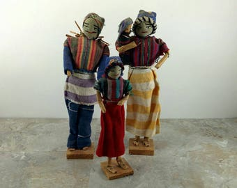 Vintage Primitive Folkart Handmade Doll Family Set - Mother, Father, Baby and Daughter