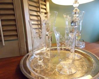 Vintage Set of 4 ETCHED Mismatched STEMMED GLASSES, Stemmed Crystal Glasses, Vintage Barware