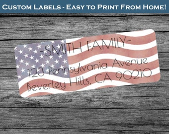 American Flag USA - Custom Return Address Labels  - Print From Home