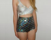 Holographic high-waisted mermaid shorts // Festival clothing