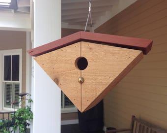 Mid-century modern birdhouse in rough-sawn cedar with rusty-red wood roof. Innovative birdhouse design. Housewarming gift. Yard art.