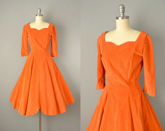 SALE 50s Dress // 1950s Orange Velvet Party Dress with Tulip Hem // Small-Extra Small