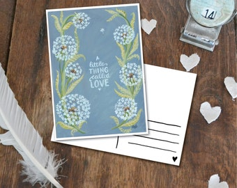 A little thing called Love - Postcard with Illustration, dandelion pastel green blue