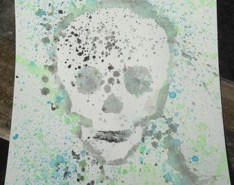 Blue, Green, Black, Gray Skull Splatter, Speckled Watercolor Painting, Sugar Skulls, Skeleton