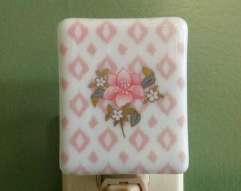 Flower, Fused Glass, Night Light, Nightlight, Nite Light, Night Light, Plug In, Mother's Day, Pink, Diamond Print, Nursery