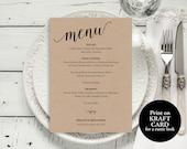 Wedding Menu Template Wedding Menu Printable Rustic Menu Card Menu Template PDF Instant Download Dinner Menu Menu Printable MMPB102