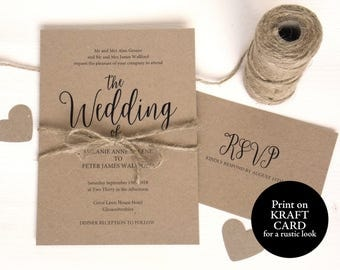 Wedding Invitation Template, Kraft Invitation, Rustic Wedding Invitation, Wedding Invitation Printable, Wedding Invitation Set, MM02-2