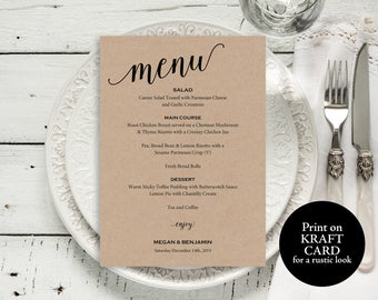 Wedding Menu Template, Wedding Menu Printable, Rustic Menu Card, Menu Template, PDF Instant Download, Dinner Menu, Menu Printable, MM01-2