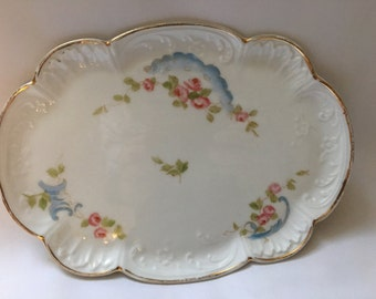 Antique dressing table tray/plater by A. Lanternier Limoges France  // hand painted.