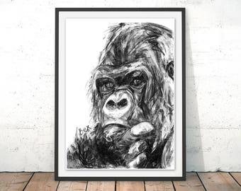Gorilla Art Print Gorilla Wall Art Ape Charcoal Illustration Gorilla Black and White Ape Home Decor Gorilla Wall Hanging Jungle Animal Print