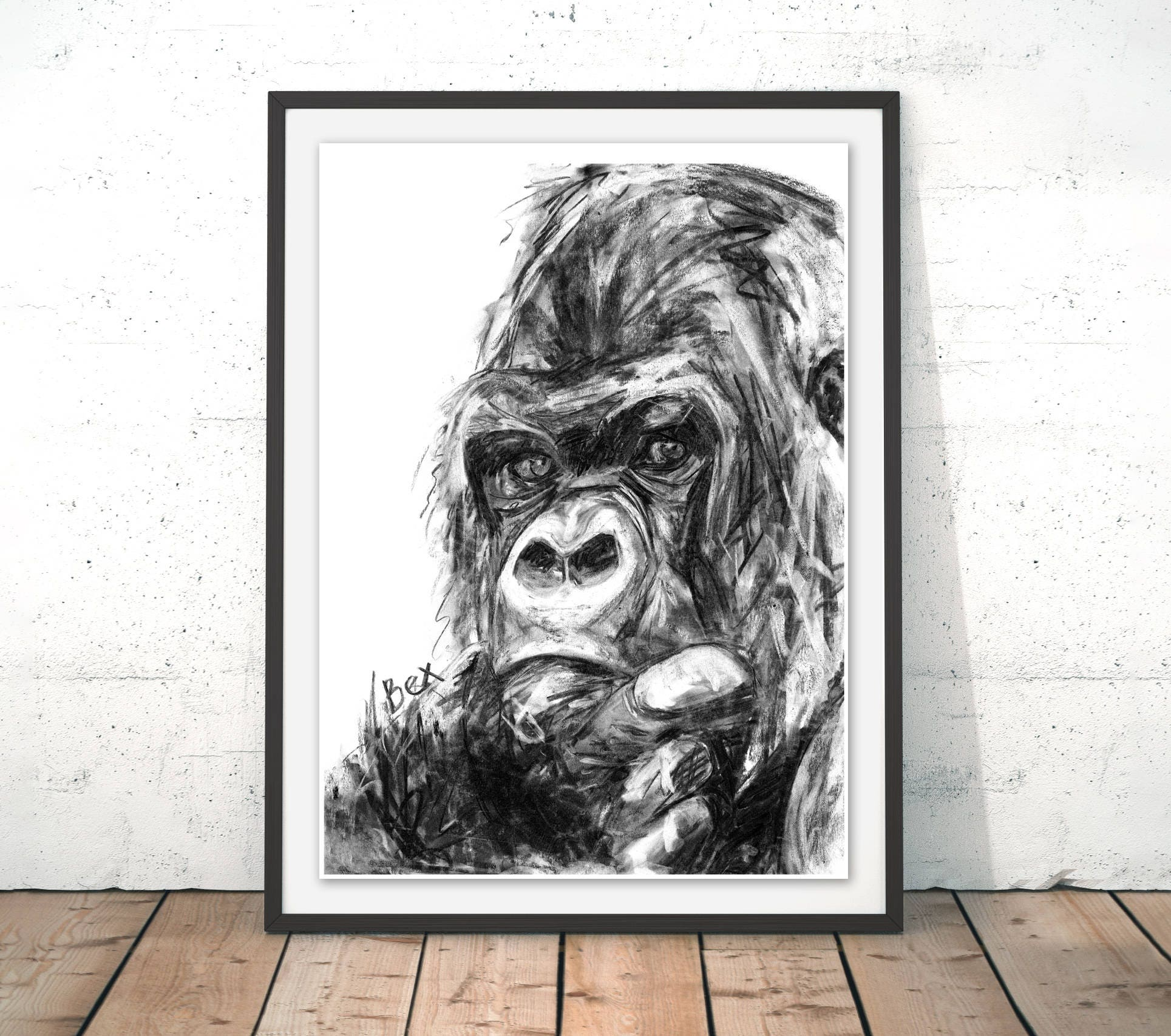 gorilla art print gorilla wall art ape charcoal illustration
