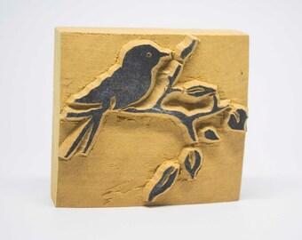 """wodden stamp, handmade """"bird on branch"""""""
