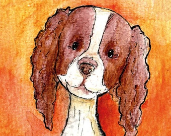 """Handmade postcard with sweet dog//""""hi, how are you doing?""""  Nice to give to a friend"""