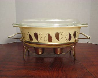 Vintage Pyrex Golden Hearts Promotional Casserole With Lid and Warmer Stand