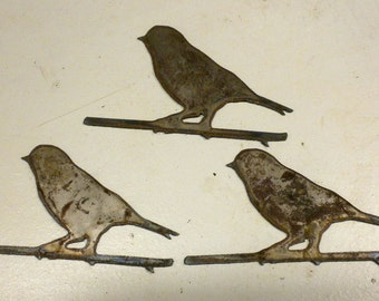 Lot Set Of 3 Bird On Branch Shapes 4 Inch Rusty Vintage Antique Y Metal
