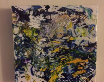 abstract painting- blue silver