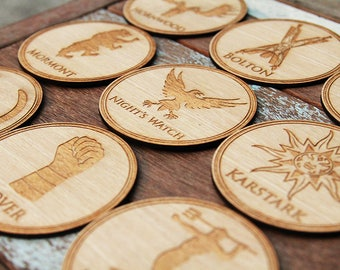 Game of Thrones Coasters - Battle of the bastard set, High Quality Engraved on round wood shape.
