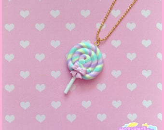 Pastel Lollipop necklace cute and kawaii