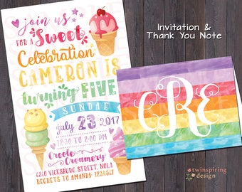 Rainbow Ice Cream Birthday Party Invitation and/or Thank You Notes - Twins / Siblings / Best Friends Invitation