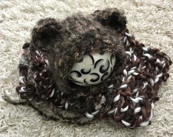 Newborn size knit mohair blend bear bonnet and chunky mini knit blanket set, photo prop, gift idea, knit, crochet
