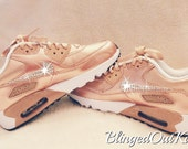 Women's Crystahhled - Blinged Out - Nike Swarovski - Bling Nike Shoes - Bling Air Max - Rose Gold Bling - Perfect Gift - Nike Shoes